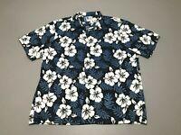 Vintage 90s RJC Tropical Surf Lei Floral Button Front Hawaiian Shirt Size 2XL