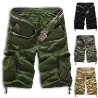 Men Sport Plain Cargo Shorts Military Combat Pants Multi-Pocket Waist Size 28-38