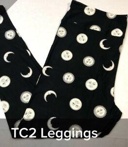 Lularoe Womens Leggings TC2 18-28 Black & White Moon Sun Celestial Face Solar
