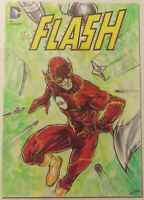 "2016 DC Comics Justice League 'The Flash' 3.5""x5"" Sketch Card by Sunico! Marvel"