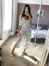 Ex Quiz Jumpsuit White Black Polka Dot Cold Shoulder Cropped Culotte Playsuit
