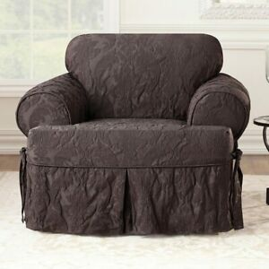 Sure Fit ONE PIECE CHAIR Slipcover T CUSHION MATELASSE DAMASK  COLOR ESPRESSO