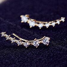 New Clip Piercing Cuff Earrings Women Ladies One Row Rhinestone Crystal Star Ear