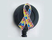 AUTISM AWARENESS Retractable Reel ID Key Card Badge Holder Ribbon Puzzle Black
