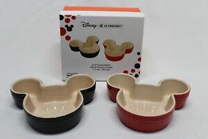 Le Creuset Disney Mickey Mouse Set 2 Stoneware Ramekins Black & Red 7.5oz new