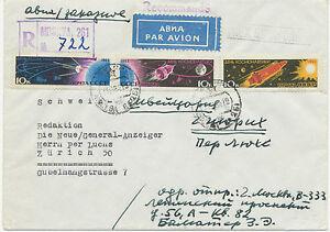SOWJETUNION 1964 Tag der Kosmonauten 10 K (3er-Zusammendruckstreifen) Brief