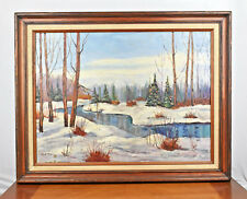Vintage 18x24 Oil Painting Ohio Winter Scene by Arge Rigby 1977 in Wood Frame