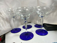 Weston Etched Clear Glass & Cobalt BLue Footed Liquor or Champagne Glasses