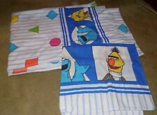 VTG 1980's Sesame Street Twin Flat Bed Sheet Fabric & 1 Pillowcase Shapes Theme