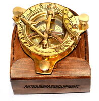 Vintage brass compass maritime 3'' sundial compass west london W/ leather box