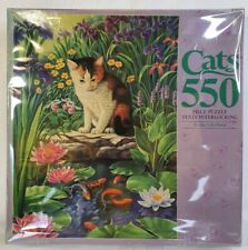 Milton Bradley Jigsaw Puzzles Cats At the Lily Pond 550 Piece Vintage 1994