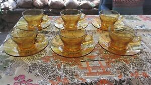 Bormioli Italy Vintage Amber Glass Coffee Cups & Saucers unused in old box