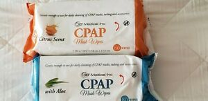 CPAP Mask Wipes 2 Pack Citrus Scent & Fragrance Free  Alcohol Free 80 wipes each