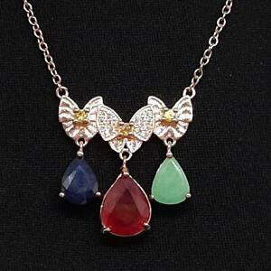 6.20ct Ruby, Emerald, Sapphire & Diamond Cut Sapphire 14K Rose Gold 925 Necklace