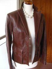 Ladies M&S short brown fine leather JACKET COAT blazer size UK 8 buttersoft