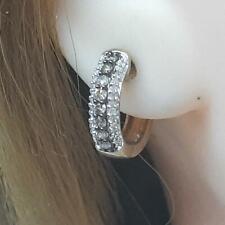Genuine .68ctw Chocolate & H-SI Diamond 14K Yellow Gold / Silver Huggie Earrings