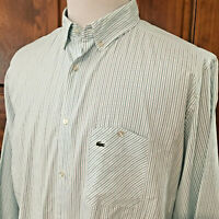 EUC LACOSTE Mens sz 44 BLUE GREEN STRIPED L/S FLIP CUFF L/S BUTTON FRONT SHIRT