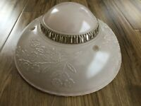 Vintage Antique Frosted Pink Ceiling Light Glass Shade 3 Chain Floral Art Deco