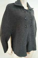 MARY MADE IN ITALY Grey Wool Blend Double Breasted Poncho Jacket Top UK14 BNWT
