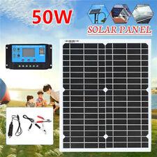 50W 18V USB Flexible Solar Panel Battery Charger Kit Car Boat Home + Controller