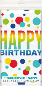 Happy Birthday Unicorn Party Plastic Table Cover Rainbow Spots Dots Tablecloth