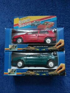 Die-cast Metal Super Racer pull back toy car x2 VW MK3 Golf red VW Corrado green