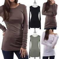 Women's Long Sleeve Solid Plain Tunic Top Crewneck Fitted Easy Wear Cotton S M L