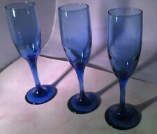 "Cobalt Blue Champagne Flutes 8-1/8""- Set of 3- EUC"