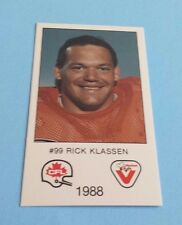 1988 Vachon CFL Football Rick Klassen Card***Saskatchewan Roughriders***