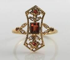 LONG 9K 9CT GOLD MADAGASCAN GARNET DIAMOND ART DECO INS RING FREE RESIZE