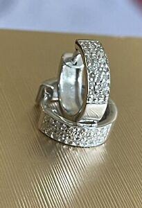 9ct White Gold Diamond Earrings 0.20ct huggies hoops Hallmarked