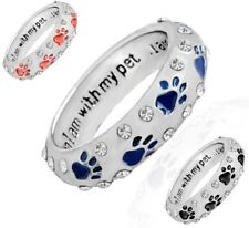 Dog & Cat Paw Print Ring Diamante Band 'Complete With My Pet' Dress Fashion UK