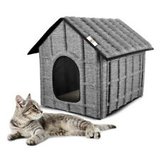 Katzenhaus Outdoor Katzenhütte Katzenhöhle Haustierhaus Wetterfest isoliert Grau