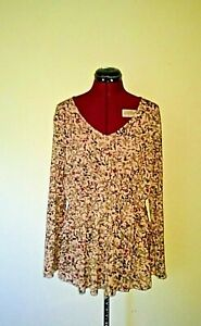 Style & Co Womens Top Size XL Western Trail Calico Natural Blush