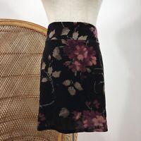 Ecote Urban Outfitters Boho Mini Skirt Size L Velvet Black Purple Flowers