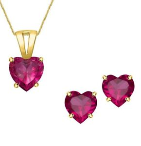 Ruby Gemstone 925 Silver Solitaire Heart Earring Pendant Valentine Set