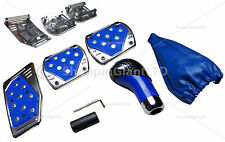 AUTO 5 PIECE BLUE/BLACK PEDALS PEDAL GEAR STICK KNOB FOOT COVERS TUNING KIT SET