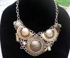 Estate Bohemian Large Gold Tone Signed LUCID Runway Bib Collar Necklace 18""