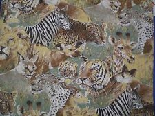 Vintage LARGE LION,TIGER,CHEETAH,ZEBRA,AFRICAN ANIMAL Fabric (56cm x 60cm)