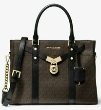🌞MICHAEL KORS HAMILTON NOUVEAU LARGE BROWN BLACK LOGO MONOGRAM SATCHEL BAG🌺NWT