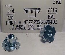 1/4-20 T-Nuts 7/16 Barrel 4 Prong Steel Zinc Plated (40)