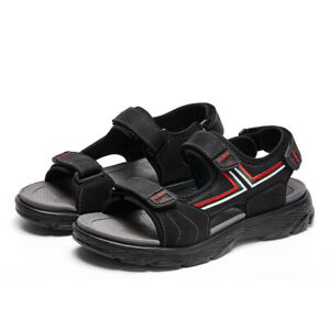 Men's Leather Double Strap Black Sandals Outdoor Casual Sandles Lightweight