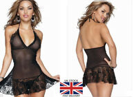 SEXY Sheer Womens See Through Lace BabyDoll Nighty Dress Lingerie+G-String 11293