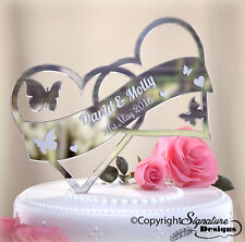 Personalised Wedding Mr&Mrs Cake Topper Acrylic Mirror Wood Entwined Love Heart
