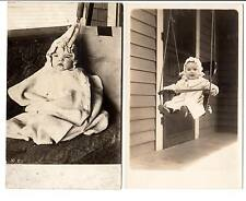lot of 2 AZO 1904 - 1920s rppc happy babies porch swings baby clothes fashion