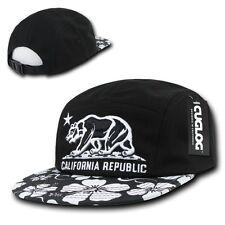 Black California Republic Star Bear Cali Floral Racer Flat Bill Hawaiian Cap Hat