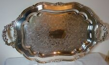 "SILVER PLATE OVAL 27 7/8"" BY 16 1/4"" SCROLL DESIGN SERVING TRAY BY 1881 ROGERS"