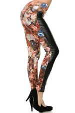 Women's Leggings Floral Printed Faux Leather Faux Fur Lined Leggings
