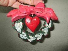 """House of Hatten 1991 Wreath Shaped Christmas Ornament With Bow and Heart 4 1/2"""""""