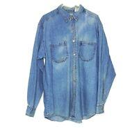 Levi's Red Tab Men's Blue Denim Shirt Size Large Metal Button Long Sleeve Jean